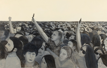 """Crowd #1 2007: mixed media on canvas 80×70 inches"