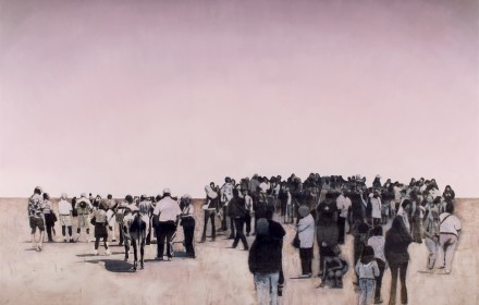"""Crowd #3"" 2007: mixed media on canvas 80×102 inches"