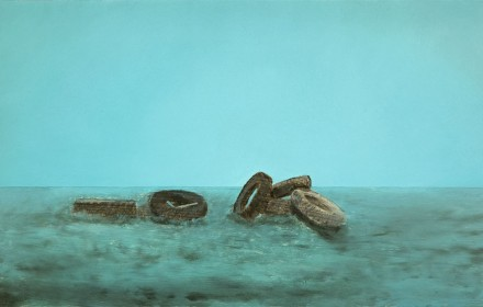 """Tires"" 2008: mixed media, oil on canvas 12×20 inches"