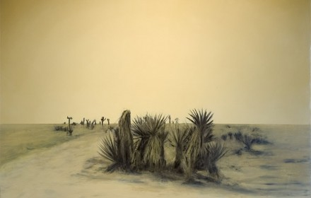 """Desert Landscape"" 2008: mixed media, oil on canvas 60×72 inches"