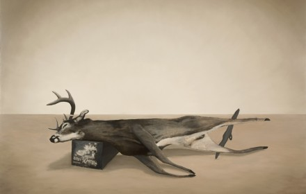 """Trophy Buck 1932"" 2009: mixed media, oil on canvas 60×72 inches"