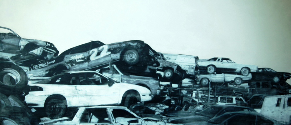 """Stacked Abundance"" 2012: mixed media, oil on canvas 76×90 inches"