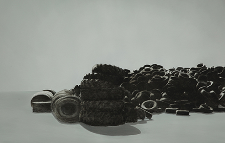 """Tire Pile 2"" 2012: mixed media, oil on steel 18×24 inches"