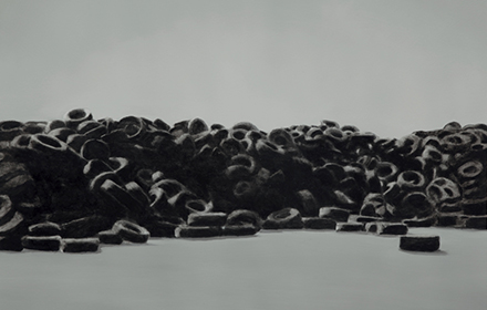 """Tire Pile 3"" 2012: mixed media, oil on steel 18×24 inches"
