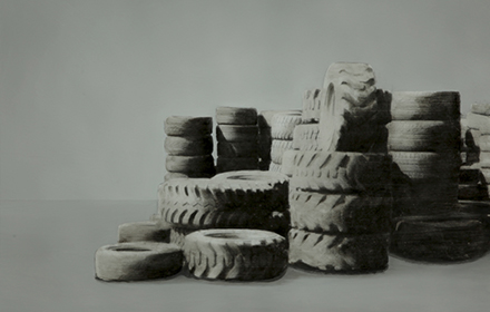 """Tire Pile 5"" 2012: mixed media, oil on steel 18×24 inches"