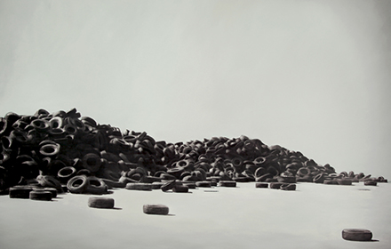 """Tire Piles"" 2012: mixed media, oil on canvas 76×90 inches"